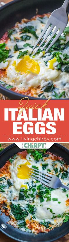 Quick Italian Eggs, a speedy one-pan breakfast. Two eggs cooked in marinara sauce with spinach, topped with mozzarella.