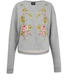 McQ Alexander McQueen Grey Floral Embroidered Sweatshirt | Women's Sweatshirts by McQ Alexander McQueen | Liberty.co.uk