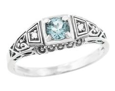 Art Deco Vintage Style Filigree Sky Blue Topaz Promise Ring with Side Diamonds in Sterling Silver