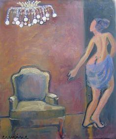 girl leaving the room, oil on canvas, 40x 50cm ©ermine