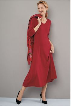 Our favourite stretch jersey dress in a great new colourway. ∙ Long sleeves · V-neck · Longline front & back princess seams · Fit & flare · Touch of stretch ∙ Viscose Elastane ∙ Mac Season Colors, V Neck Dress, Essentials, Lily, Colours, Stylish, Winter, Red, Dresses