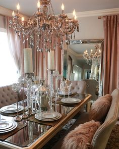long dining room table dinning room dinning room gorgeous dusty blush cotton luster velvet curtain amp sheer metallic glam dining room am obsessed with the table chairs centerpieces