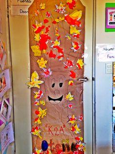 Autumn tree decoration classroom