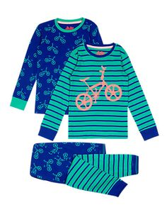 2 Pack Pure Cotton Stay Soft Bike & Striped Pyjamas (1-8 Years) | M&S