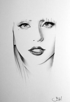 Lady Gaga minimalisme crayon dessin beaux-arts Portrait impression main signé