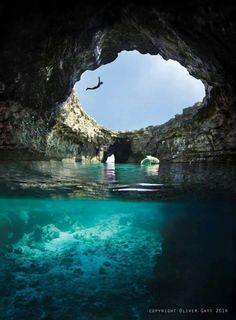Malta - Paradise - Armier Bay . hole in the earth leading to a wimiscle grotto / swimming hole - Mediterranean - blue glow - secrets! Europe! I live in Malta and still havnt been here WTF!