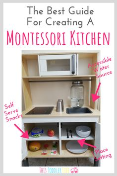 The best guide for creating a Montessori kitchen in your Montessori home. The best guide for creating a Montessori kitchen in your Montessori home. Create a Montessori kitchen for your Montessori toddler. How to create a Montessori kitchen. Ikea Montessori, Montessori Toddler Rooms, Montessori Bedroom, Toddler Toys, Toddler Kitchen, Ikea Play Kitchen, Play Kitchens, Montessori Practical Life, Infant Activities