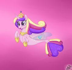 #1605510 - artist:liniitadash23, crown, female, jewelry, movie accurate, my little pony: the movie, princess cadance, regalia, safe, seaponified, seapony (g4), smiling, solo, species swap, spoiler:my little pony movie - Derpibooru - My Little Pony: Friendship is Magic Imageboard