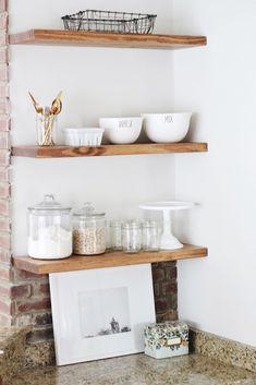 DIY Open Shelving // Floating Shelves Little Baby Garvin, Floating Shelves Diy, Floating Shelf Brackets, Storage Design, Diy Design, Storage Ideas, Interior Design Boards, Cottage Kitchens, Home Kitchens