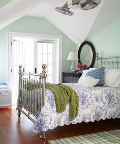 Cottage Attic Bedroom. love the French doors! ♥