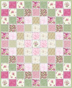 Garden Glory~Pink Roses~Pre-Cut Quilt Kit~Floral~Mary Rose~Lecien~Pink & Green~Fabric~QK#53