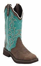 Justin® Gypsy™ Womens Distressed Brown w/Turquoise Top Triad Square Toe Western Boots