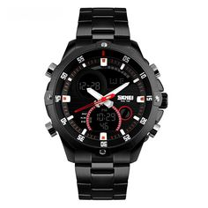 Summary Seeking an unique design to a flashy looking watch with a strong stainless-steel instance and also an impressive analogue screen? This fashionable Men's Stainless Steel Watch is an excellent balance of design as well as function. This streamlined watch is finished with a stainless-steel arm band strap.   #Skmei