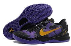 68614cf58b4 Authentic Nike Zoom Kobe 8 (VIII) Black Purple Yellow 2013 Basketball Shoes  For Wholesale