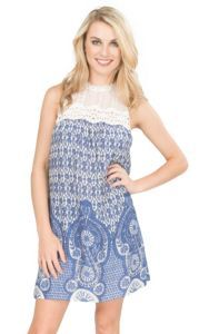 Flying Tomato Women's Blue and White Floral Print with Illusion Neckline…