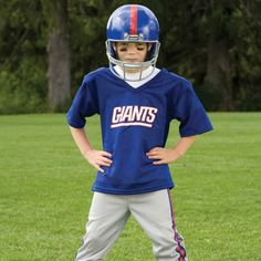 NFL® Deluxe Uniform Set - New York Giants - Your little football fan can look like a real gridiron warrior wearing this official NFL® uniform set! Included is an official home team jersey, team helmet with authentic logo and team colors and team pants that will have them looking ready to take the field. The set also includes iron-on numbers (0-9) for the back of the jersey. Makes a great Halloween costume! - See more at: http://franklinsports.com/shop/nfl-deluxe-uniform-set