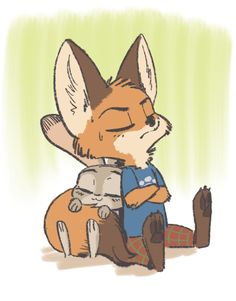 By fuel (artist) Zootopia Characters, Zootopia Fanart, Zootopia Comic, Disney And Dreamworks, Disney Pixar, Nick And Judy Comic, Young Fox, Zootopia Nick And Judy, Mickey Mouse