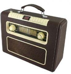 """""""Radio Nacional de España presenta..."""" """"Historias de terror, de amor, de suspense"""". """"Un programa escrito y dirigido por..."""" """"Han escuchado ustedes..."""". Sintoniza emisoras y música de ahora como si estuvieras en otra época. Asocia el encanto de esta radio cd maletín con el recuerdo y cariño en el retorno al pasado. ¡Pon alto el volumen y disfruta!"""