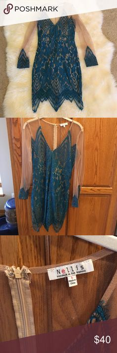 Lace turquoise dress Similar to for love and lemons, this dress is gorgeous!! Covered in all the right places, this dress has beautiful lace trim and is lined. Fits a size 8-10 For Love and Lemons Dresses Mini