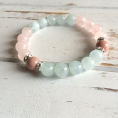 Balance Genuine Aquamarine Rose Quartz & by PeaceOfMindInc