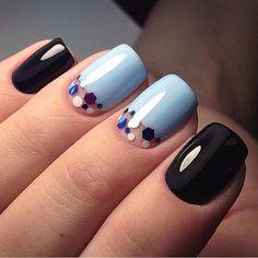 Beautiful nails 2017, Black and blue nails, Fashion nails 2017, Glitter nails, Half-moon nails ideas, Manicure 2017, Medium nails, Modern nails