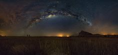 "Fandana night - Panoramic of the milky way in Fandana, south of Madagascar. The lights on the horizon are the many savanna fires that are lit at all hours of the day by the local populations.  <a href=""http://www.thewildlifemoments.com"">MY SITE</a> 