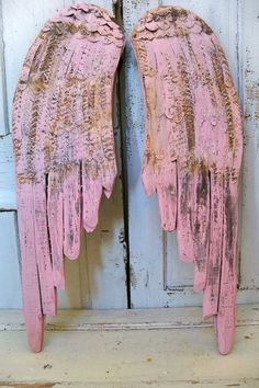Large wooden wings, pink shabby chic wall sculpture.