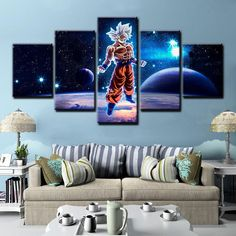 Dragon Ball Z Cartoon Anime Manga Framed 5 Piece Canvas Wall Art Painting Wallpaper Poster Picture Print - Large / With Framed