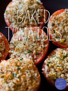 herb and panko crusted baked tomatoes by spoon fork bacon