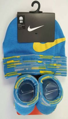 ea94a238609 Nike Boys Size 0-6 Months Hat   Booties Set Blue Yellow Gray Newborn Gift