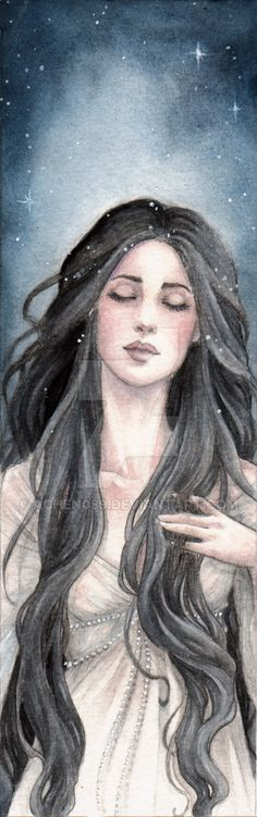 A bookmark i made for *twelveofdecember who likes stars and ladies with big eyelashes. Pencil & watercolours