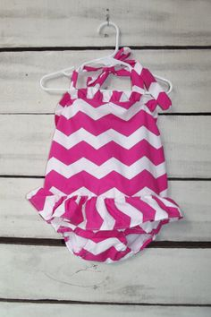 girls hot pink chevron swim suit bathing suit by dearbabyboutique1, $27.00