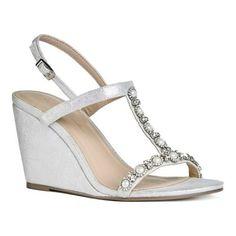 7909e120c Pink Paradox London Women's Kiana High Heel Wedge T Strap Sandal, Size:  9.5, Silver Shimmer