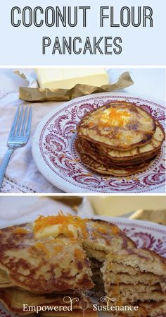 These are the Best Paleo Pancakes Ever! Coconut flour pancakes with gelatin! It sounds like a weird addition, but the texture is perfect (and not crumbly like many grain-free pancakes). Primal Recipes, Healthy Recipes, Gluten Free Recipes, Low Carb Recipes, Real Food Recipes, Cooking Recipes, Yummy Food, Coconut Flour Pancakes, Coconut Flour Recipes