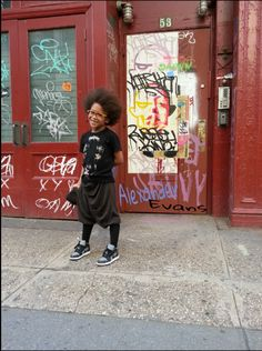 This little guy is so cool in his youthful street wear.