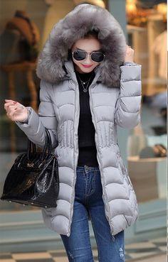Doudoune longue LEILA, manteau plume femme, veste femme capuche fausse  fourrure, blouson femme b593ea8e186