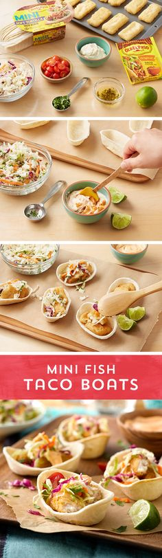 Ready for a fun new twist on taco night? Your family will be hooked on these Mini Fish Taco Boats! Heat breaded fish tenders in the oven until thoroughly cooked. Then whip up a simple slaw dressing with mayonnaise, lime juice and Taco Seasoning, and toss with coleslaw. Fill Old El Paso™ Mini Taco Boats with fish tenders, your slaw and homemade dressing, and top with fresh tomatoes and cilantro! These tasty taco boats are ready to eat in just 30 minutes!