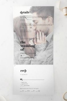 Modern Black Typography Faded Photo All in One Wedding Tri-Fold Invite. Click to customize with your picture and personalized details today. Beautiful Wedding Invitations, Wedding Invitation Sets, Invitation Design, Invite, Contemporary Fonts, Rustic Save The Dates, Stationery Paper, Tri Fold, Simple Weddings