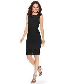 Thalia Sodi Mesh-Trim Illusion Sheath Dress - Dresses - Women - Macy's