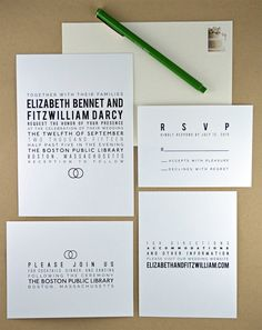 A beautiful DIY printable wedding invitation suite featuring modern minimalist typography and a wedding band motif in urbane black and white.  Suite includes matching invitation, rsvp response card, reception card, and information enclosure card.  By Pink Balloon Paper (www.etsy.com/shop/pinkballoonpaper)