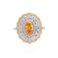 This fancy vivid orange diamond ring features 3 perfectly graduated halos that compliment the center diamond Gems & Jewellery - Community - Google+