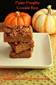 Magical Paleo Pumpkin Crumble Bars!! Grain free, paleo and low carb version. Creamy  pumpkin bars with a crumble topping, that will magically disappear!
