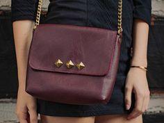 SALE / Leather Studded Bag / Leather CrossBody by DavieAndChiyo607, $175.00