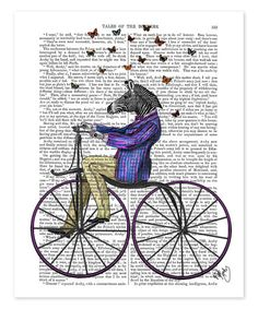 Look what I found on #zulily! Zebra on Bicycle Dictionary Print #zulilyfinds