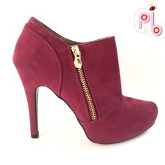 """Just in⭐️Burgundy / Gold high heel boots Lovely burgundy high heel boots with gold zipper on the side. Heel measures 4"""" . They are new in the the box. Qupid Shoes Heels"""