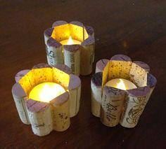 Wine cork tea light candle holders.