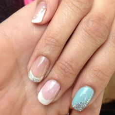 Styles of bridal nails to choose from: classic French to something blue: do a Tiffany style nail. These are natural nails w/ entity beauty's entity one color couture soak off gel (Eocc)