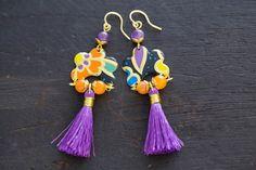 Colorful Purple Tassel Earrings with Daher by MusingTreeStudios