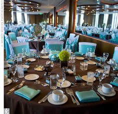 blue and bronze wedding | ... brown tablecloths and white chair covers tied with teal sashes