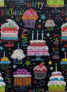 Chalk Drawings Sidewalk Discover Happy birthday cotton fabric by Alexander Henry Fabrics Happy Birthday For Her, Happy Birthday Signs, Happy Birthday Images, Happy Birthday Greetings, Birthday Wishes, 21 Birthday, Sister Birthday, Birthday Ideas, Chalkboard Designs